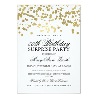 Surprise 80th Birthday Party Gold Foil Confetti Card