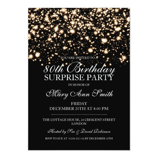 Surprise 80th Birthday Party Gold Midnight Glam Card