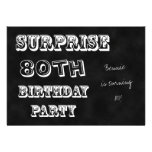 Surprise 80th Birthday Party Invitation Chalkboard Announcement