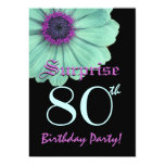 SURPRISE 80th Birthday Template Green Purple Daisy 13 Cm X 18 Cm Invitation Card