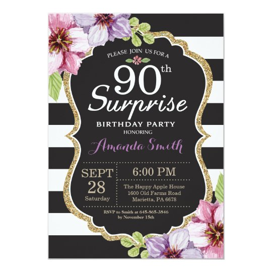 Surprise 90th Birthday Invitation Floral Gold