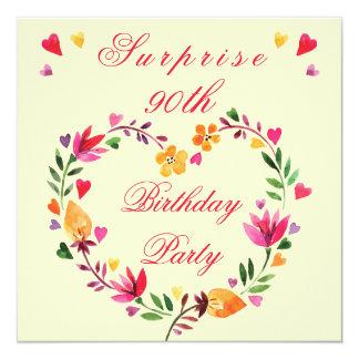 Surprise 90th Birthday Watercolor Floral Heart 13 Cm X 13 Cm Square Invitation Card