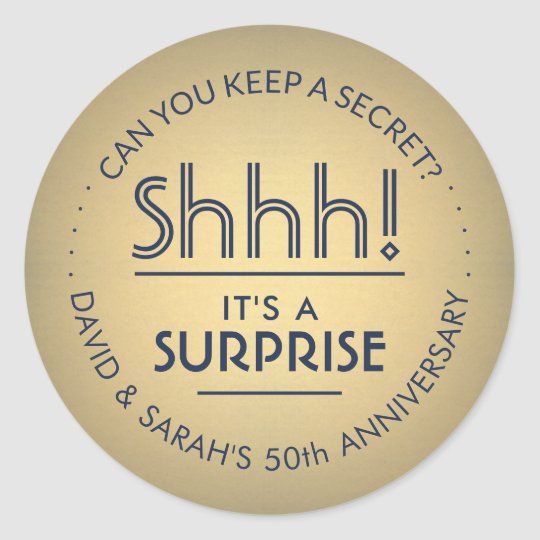 Surprise Any Year Anniversary Navy Blue Gold 50th Classic Round Sticker
