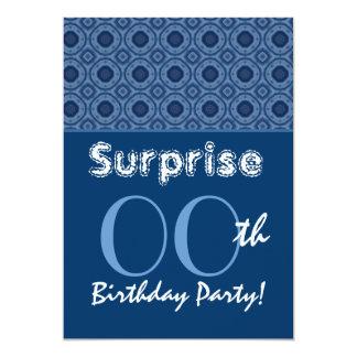 SURPRISE Any Year Birthday Blue Rivets G36 13 Cm X 18 Cm Invitation Card