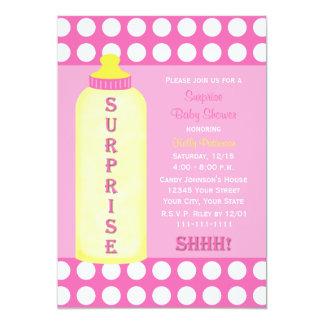 "Surprise Baby Shower Invitation - Pink Baby Bottle 5"" X 7"" Invitation Card"