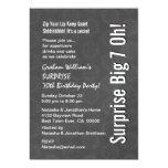 SURPRISE Big 7 Oh Birthday Grey Star Pattern 13 Cm X 18 Cm Invitation Card