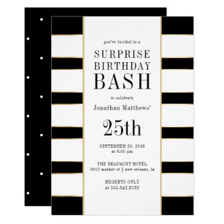 Surprise Birthday Bash | Gold Black & White Stripe Card