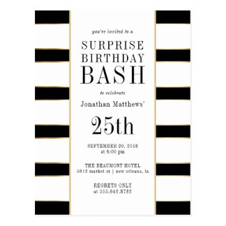 Surprise Birthday Bash | Gold Black & White Stripe Postcard