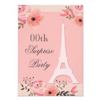 Surprise Birthday Chic Floral Paris Eiffel Tower Card