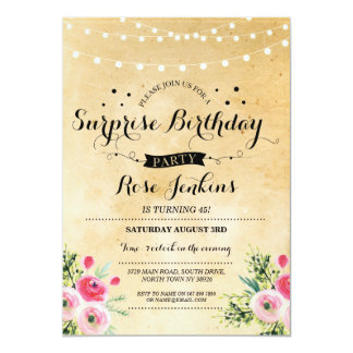 Surprise Birthday Party Any Age Floral Invitation