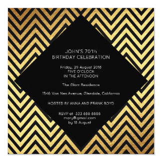 Surprise Birthday Party Art Deco Geometric Gold 13 Cm X 13 Cm Square Invitation Card