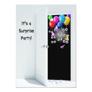 Surprise  Birthday Party behind door 11 Cm X 16 Cm Invitation Card