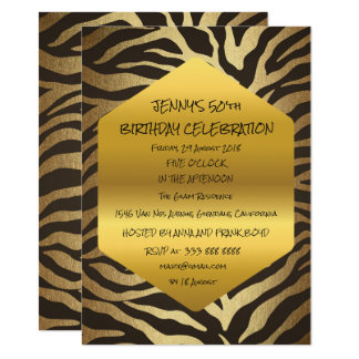 Surprise Birthday Party Black Animal Skin Glam 11 Cm X 16 Cm Invitation Card
