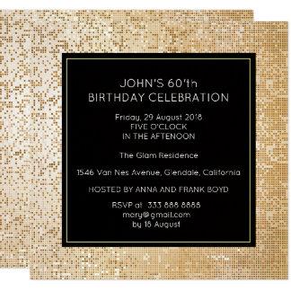 Surprise Birthday Party Black Gold Glam 13 Cm X 13 Cm Square Invitation Card