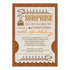 surprise birthday party bold typography ticket card