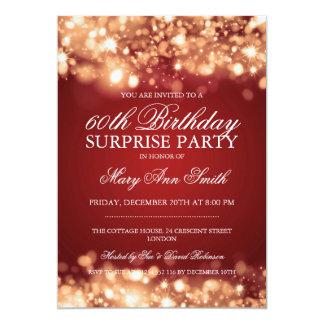 Surprise Birthday Party Gold Sparkling Lights 13 Cm X 18 Cm Invitation Card