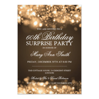 Surprise Birthday Party Gold Sparkling Lights 13 Cm X 18 Cm Invitation Card