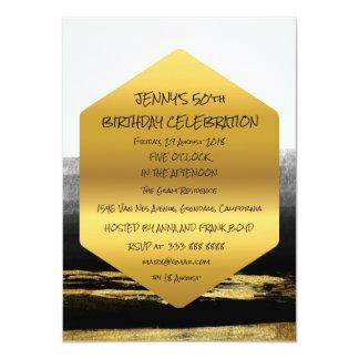 Surprise Birthday Party Golden Brushes Glam 11 Cm X 16 Cm Invitation Card