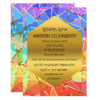 Surprise Birthday Party Green Rainbow Glam 11 Cm X 16 Cm Invitation Card