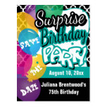 Surprise Birthday Party in Teal   Save the Date Postcard