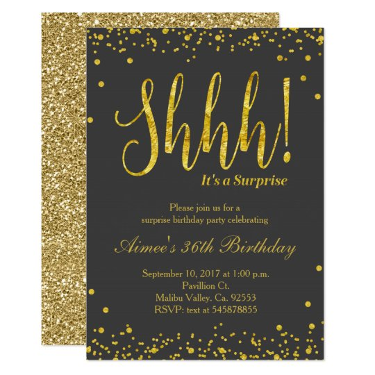 Surprise Birthday Party Invitation Black Gold