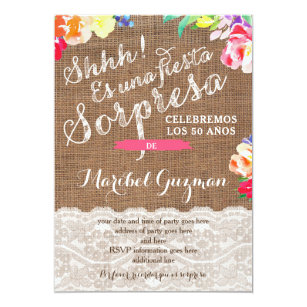 Surprise Birthday Party Invites For Lady Spanish