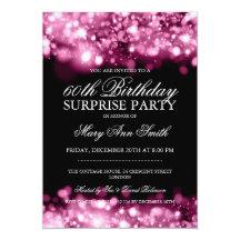 Surprise Birthday Party Pink Sparkling Lights 13 Cm X 18 Cm Invitation Card