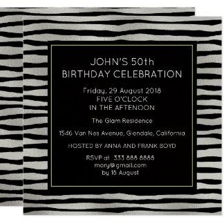 Surprise Birthday Party Silver Black Stripes 13 Cm X 13 Cm Square Invitation Card