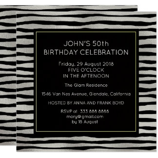 Surprise Birthday Party Silver Black Stripes Card