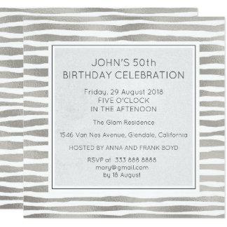 Surprise Birthday Party Silver Metallic Stripes Card