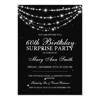 Surprise Birthday Party Sparkling Chain Black 13 Cm X 18 Cm Invitation Card