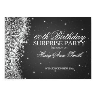 Surprise Birthday Party Sparkling Wave Black 13 Cm X 18 Cm Invitation Card