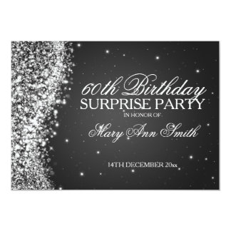 Surprise Birthday Party Sparkling Wave Black Card