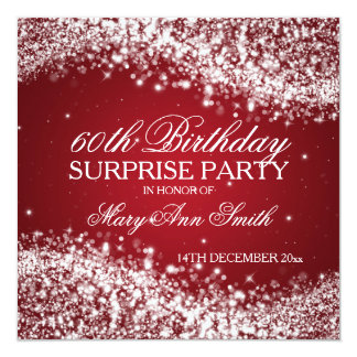 Surprise Birthday Party Sparkling Wave Red 13 Cm X 13 Cm Square Invitation Card