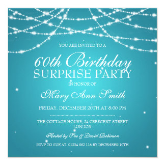 Surprise Birthday Party String of Stars Turquoise Card