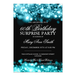 Surprise Birthday Party Turquoise Sparkling Lights 13 Cm X 18 Cm Invitation Card