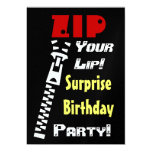SURPRISE Birthday Party Zip Your Lip Template 13 Cm X 18 Cm Invitation Card