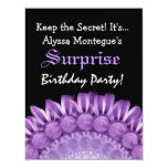 SURPRISE Birthday Purple Flowers Custom Name S303 Personalised Announcements
