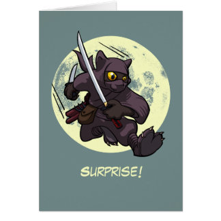 Surprise! Black Cat Ninja Flying Kick Cartoon Card