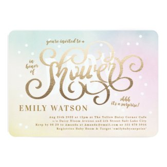 Surprise Boy or Girl Gold Lettering Baby Shower Invitation