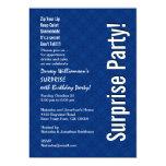 SURPRISE Custom Birthday Modern Royal Blue Ver 005 13 Cm X 18 Cm Invitation Card