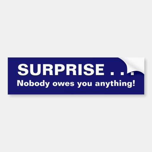 Surprise Nobody Owes You Anything Bumper Sticker