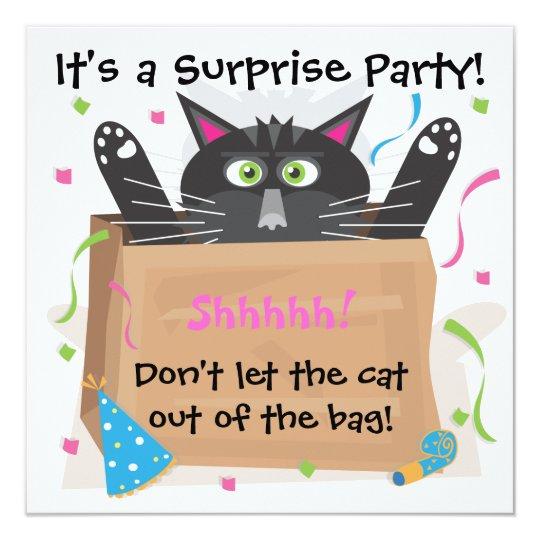 Surprise party birthday invitations