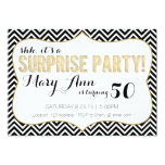Surprise Party Black and Gold Chevron 13 Cm X 18 Cm Invitation Card