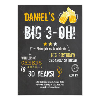 Surprise Party Cheers and beers birthday 30th Men 13 Cm X 18 Cm Invitation Card