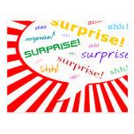 surprise party invitation : comic speech bubble postcard
