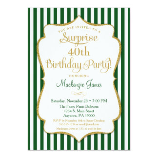 Surprise Party Invitation Hunter Green Gold