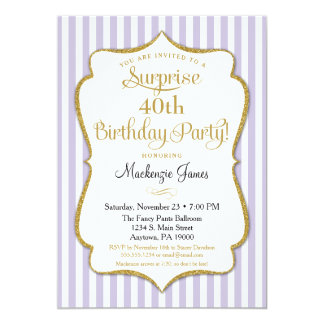 Surprise Party Invitation Lavender Lilac Gold