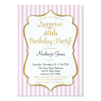 Surprise Party Invitation Pink Gold Elegant
