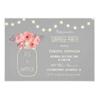 Surprise Party Pink Watercolor Flowers & Mason Jar Card